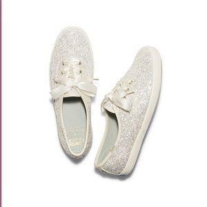 Cream glitter Kate spade keds sneakers